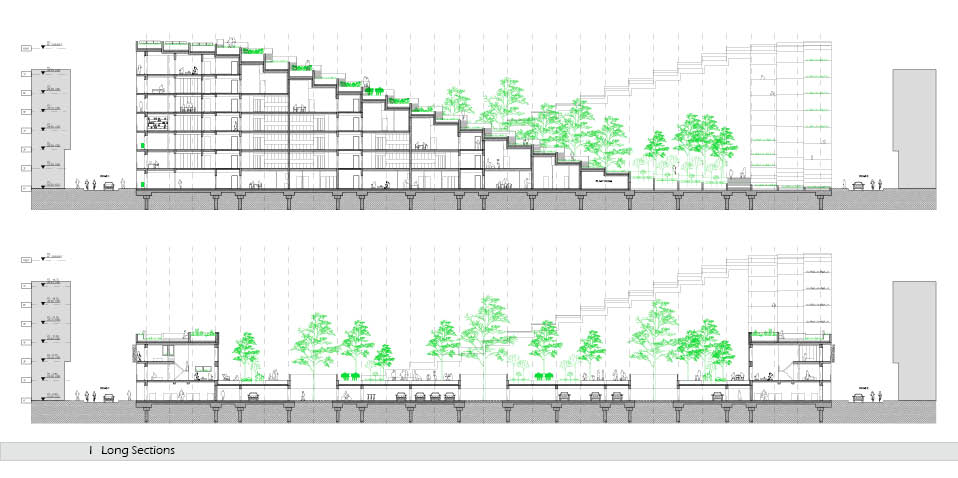 architectural section for residential sloped building