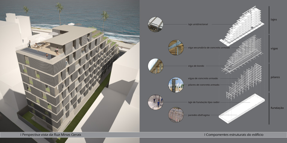 External visualization and exploded axonometric of components of the building