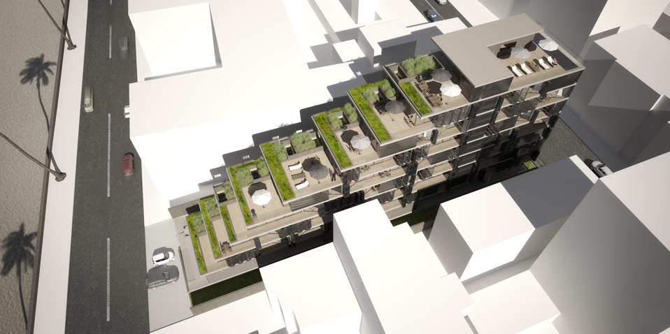 External visualization - bird's eye - terraced residential building